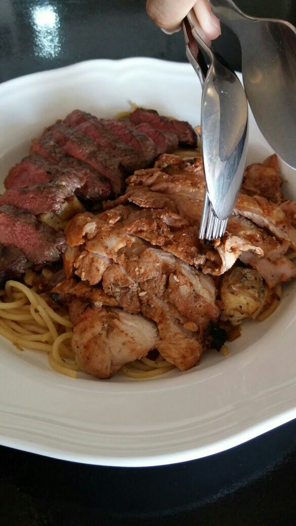 Seabass Pasta With Chicken And Beef Add On: 18+4+5