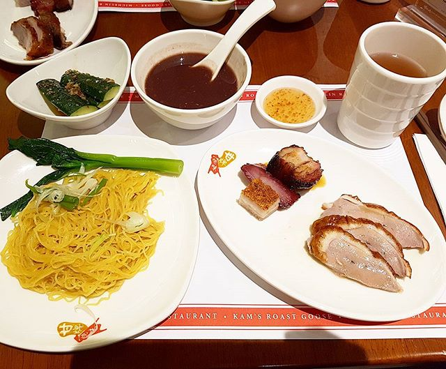 The high tea set comprises a meat platter of roast pork, roast duck, char siew and the toro char siew.