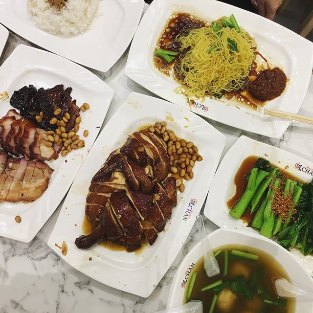 Three meat platter (BBQ pork, roast pork and pork rib) S$10 Half soy sauce chicken S$12 Seasonal vegetables S$5 Wanton soup S$5 Plain noodle S$1.50 Plain rice S$0.80  Michelin buzz.