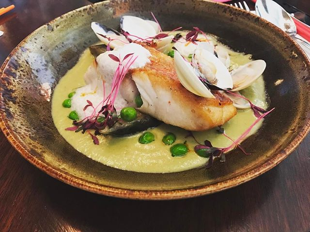 Red seabass in green curry ($26) .