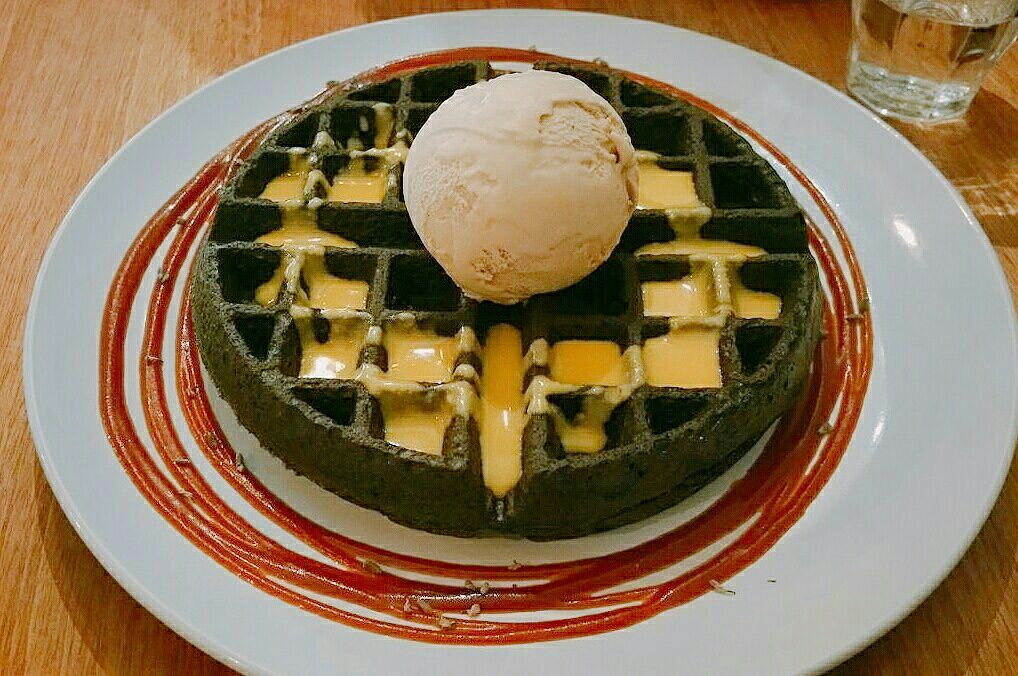 Charcoal Waffles With Salted Egg yolk Sauce
