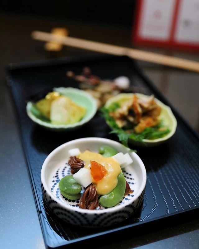 [Tamashii Robataya] - A trio of appetisers which consists of Mizu Nasu (eggplant), Anago Kyur Otsumami (conger eel) and Hotarui Ika, Soramame (firefly squid).