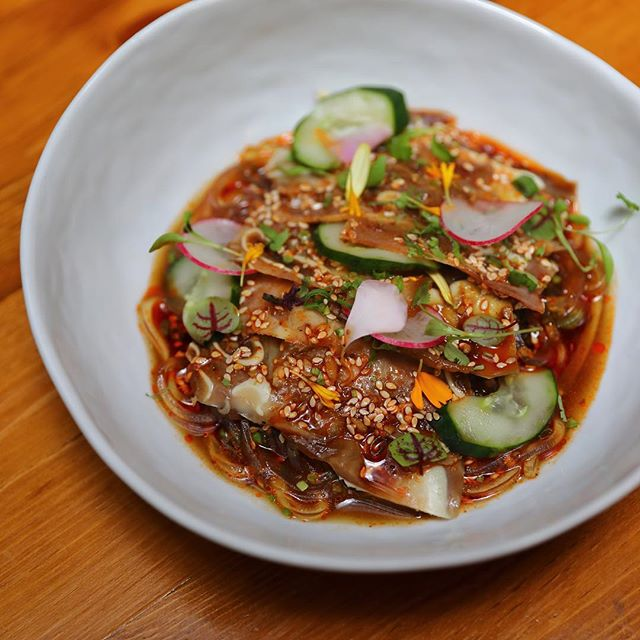 [Birds Of A Feather] - One of the new dishes is the Pig Ear Mosaic ($18).