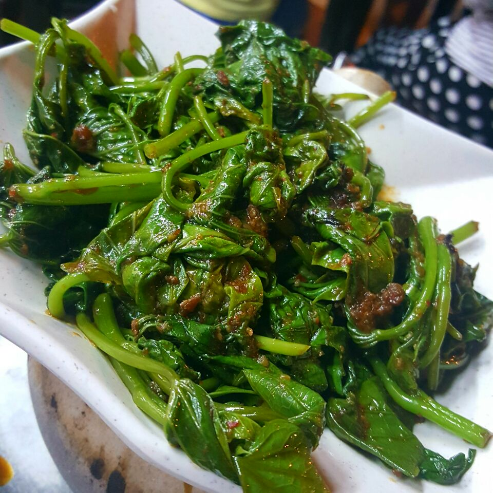 Sweet Potato Leaves With Sambal
