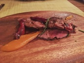 Grilled Iberian Pork with Piquillos Pepper and Roasted Pumpkin Cream